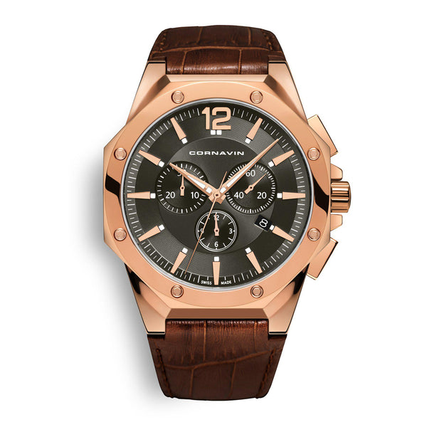 CORNAVIN CO 2010-2023 - Swiss Made Watch Chronograph with Rose Gold PVD Case and a Brown Leather Strap