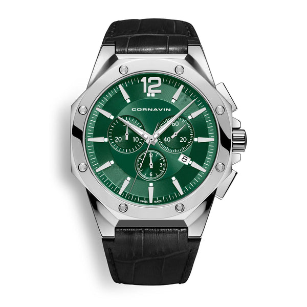 CORNAVIN CO 2010-2024 - Swiss Made Watch with a green dial and leather strap