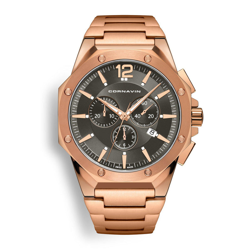 CORNAVIN CO 2010-2026 - Swiss Made Watch Chronograph with a 5N Rose Gold PVD-coated case