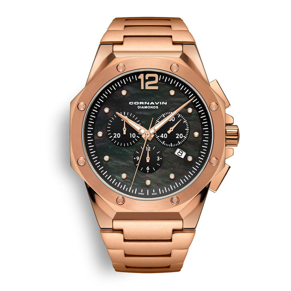 CORNAVIN CO 2010-2028 Diamond Edition - Swiss Made Watch Chronograph with rose gold PVD-coated case