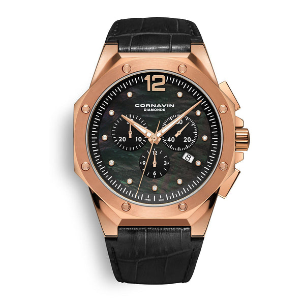 CORNAVIN CO 2010-2029 Diamond Edition - Swiss Made Watch Chronograph with Rose Gold PVD Case