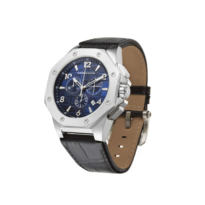 CORNAVIN CO 2012-2009R - Swiss Made Watch Chronograph with blue dial and black leather strap