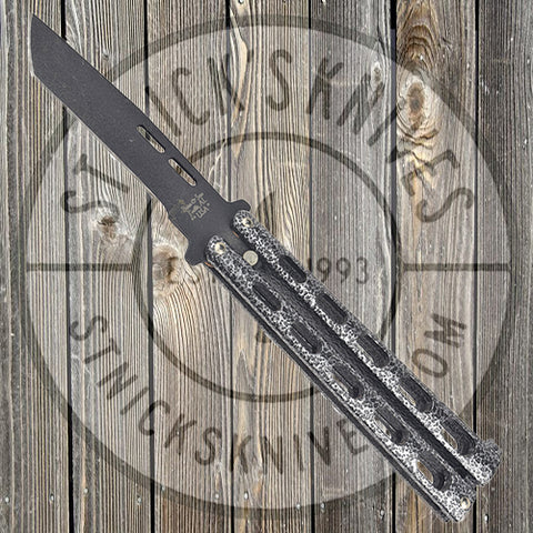"Bear & Son - 5"" Silver Handle Butterfly Knife - Black Tanto Blade - 115TAN"