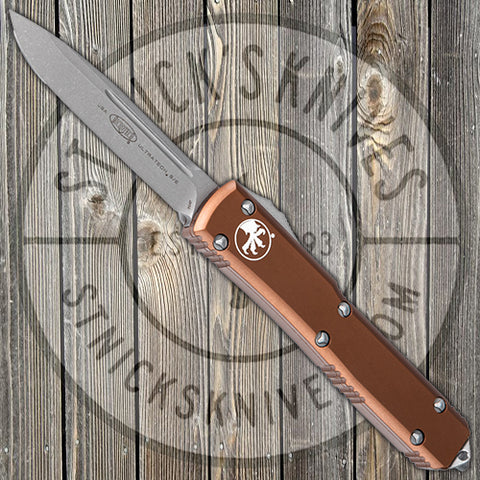 Microtech - Ultratech - Automatic - Single Edge - Tan Chassis - Apocalyptic Finish - 121-10APTA