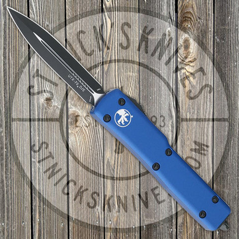 Microtech - UTX-70 - D/E - Black Standard - Blue Chassis - 147-1BL