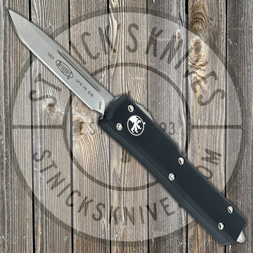 Microtech - UTX-70 - Automatic - S/E - Stonewash Standard - Black Chassis - 148-10