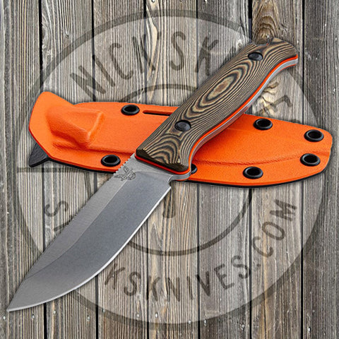 Benchmade - Saddle Mountain - Richlite/Orange G10 Handle - CPM-S90V - Fixed Blade - 15002-1