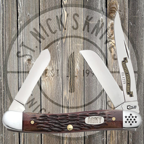 Case - Med Stockman - U.S. Army - Rogers Jig - Burnt Walnut Bone - 15026