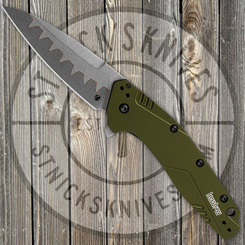 Kershaw - Dividend - Assisted Opening - Olive Green Aluminum - Composite Blade - 1812OLCB