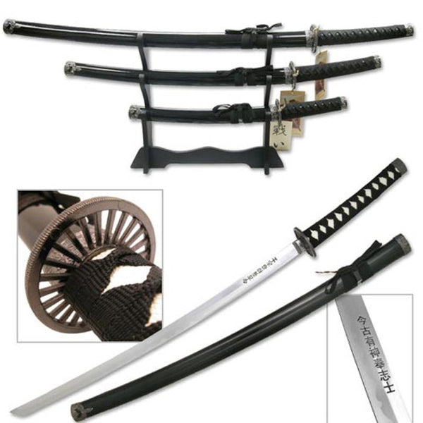 3pc Samurai Sword Set - Black - SW-68B4