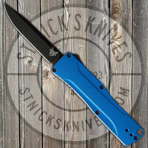 Benchmade - Om - D/A OTF - Automatic - Blue Handle - DLC CPM-S30V - 4850BK-1