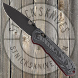 Benchmade - Freek - Grey/Black G10 - CPM-M4 - Plain Edge - Red Liners and Standoffs - 560BK-1
