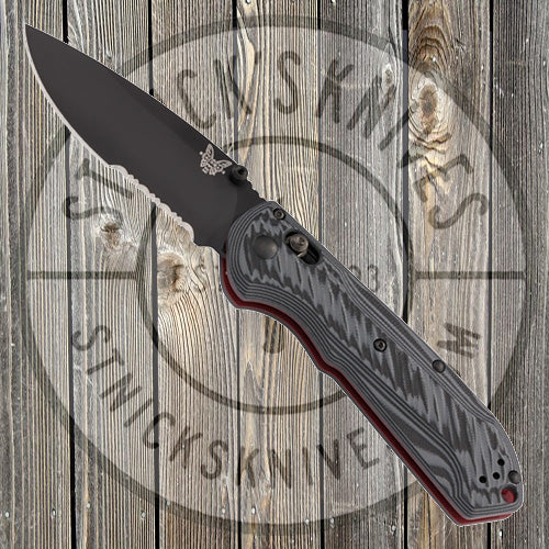 Benchmade - Freek - Grey/Black G10 - CPM-M4 - Combo Edge - Red Liners and Standoffs - 560SBK-1