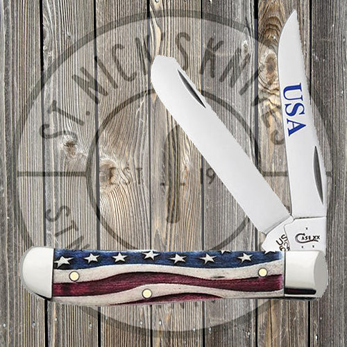 Case - Patriotic Smooth Natural Bone - Mini Trapper - 64135