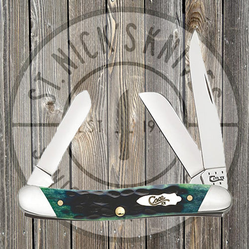 Case - Slanted Bolster - Jigged Hunter Green Bone - Medium Stockman - 70492