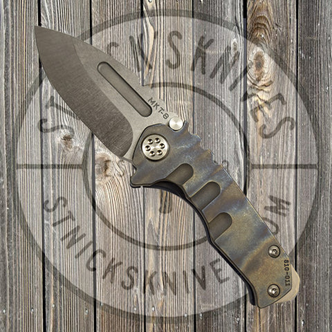 Medford - Micro Praetorian T - S35VN - Tumbled Drop Point Blade - Flamed Handle - Blue Ano Back Spring - 810-011