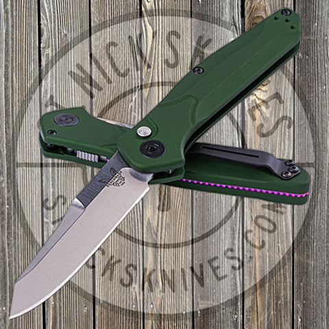 Benchmade - 9400 Auto - Osborne - Green Aluminum Handle - Plain S30V Blade