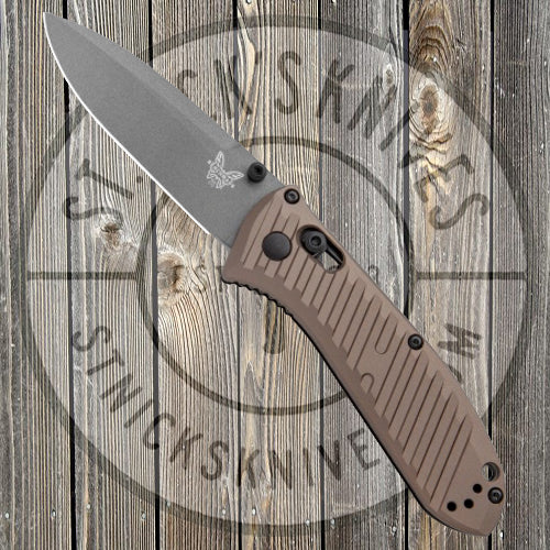 Benchmade - Limited Edition - Mini Presidio II - Plain Edge - Grey Finish - Bronze Aluminum - 575GY-2001