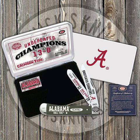 Case - 2020 Alabama National Champion - Laser Etched White Bone - AL20-CATWSB TRAPPER WHITE BONE