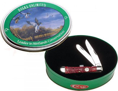 Case - Ducks Unlimited - Trapper - Dark Red Jigged Bone w/ Gift Tin - 07112 - St. Nick's Knives