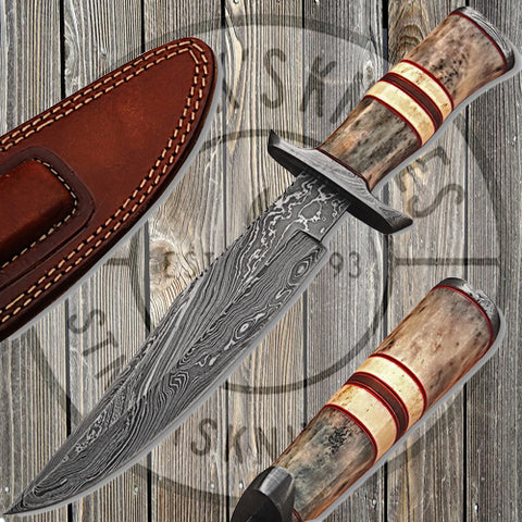 Camel Bone Handle Damascus Knife - DM-2218