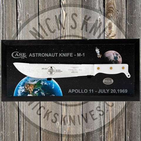 Case - Astronaut's Knife - Smooth White Synthetic Handle - Limited Edition - 50th Anniversary of Apollo Moon Landing - With Wooden Box - 22019