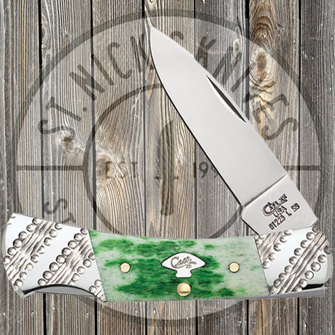 Case - Small Lockback - Worked Bolster - Emerald Green Bone - Standard Jig - 53252