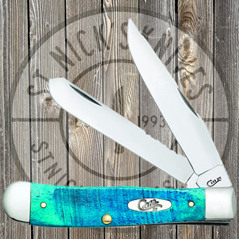 Case - Mini Trapper - Caribbean Blue Sawcut Jig Bone - 25593