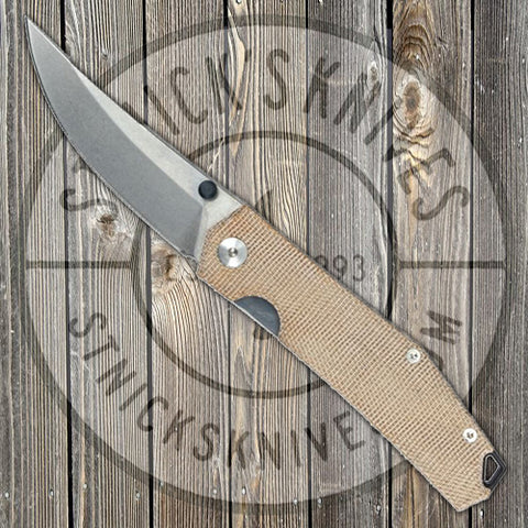 GiantMouse - Ace Clyde - Natural Canvas Micarta - Clyde-Natu-Mica