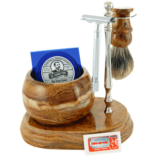 Colonel Conk - Handcrafted Marble Shave Set - 6pc - Fossil - 250C-DE - St. Nick's Knives