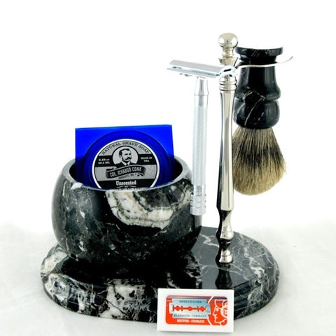 Colonel Conk - Handcrafted Marble Shave Set - 6pc - Zebra/Black - 251C-DE