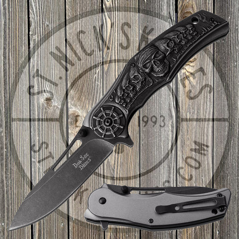 Dark Side Blades - Spring Assisted - Grey - Pirate Skulls - DS-A070GY