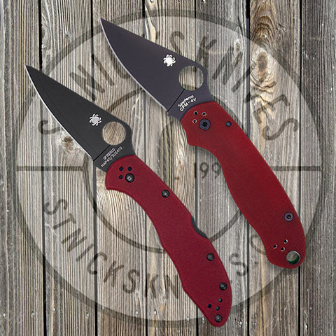 Spyderco - Exclusive - Combo Pack - Para 3/Delica - Plain Edge - Red G10 - SPYCOMBOPK