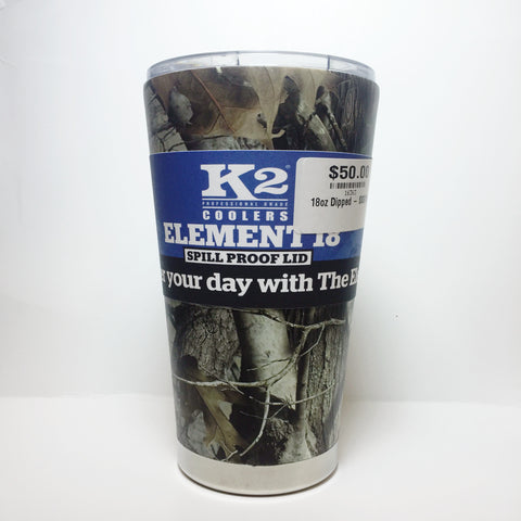 K2 Coolers - Element 18 - Camo Hydrographic Tumbler - 18oz - Spill-Proof Lid - SSS18CUS - St. Nick's Knives - 1