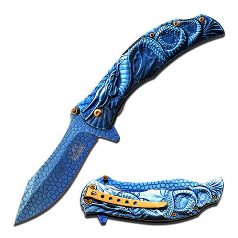 MTech - Spring Assisted -Dragon - Blue - MC-A014BL - St. Nick's Knives
