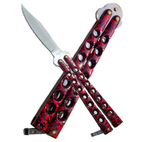 Matrix Butterfly Knife - Red Marble - B5-RD - St. Nick's Knives