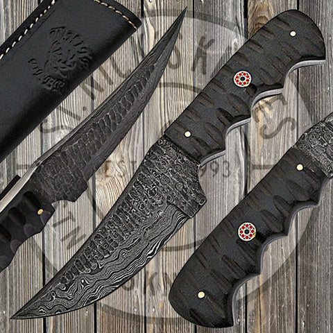 Micarta Handle Damascus Tactical Knife - WDM-2372