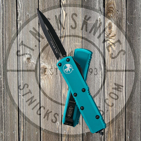 Microtech - UTX-85 - Double Edge - Black Hardware - Turquoise Chassis - 232-1TQ