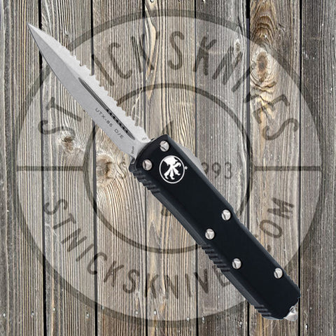 Microtech - UTX-85 - Double Edge - Stonewashed - Fully Serrated - 232-12