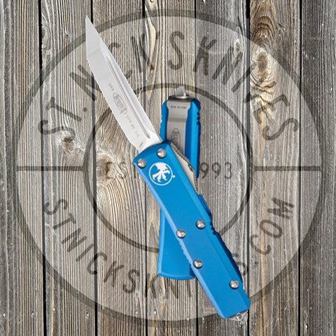 Microtech - UTX-85 - Tanto Edge - Satin Hardware - Blue Chassis - 233-4BL