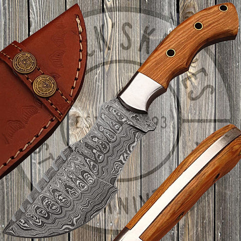 Mini Tracker with Damascus Blade and Olive Wood Handle - DM-2265