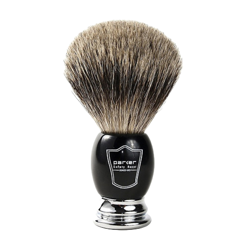 Parker - Safety Razor - Black Handle w/ Black and Chrome Badger Brush - BCPB