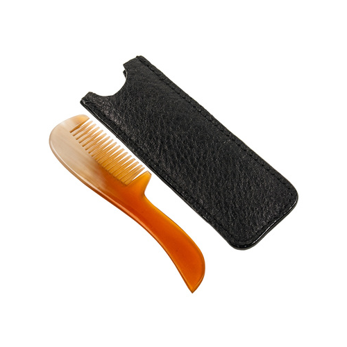 Parker - Mustache Comb w/ Leather Case - Genuine Ox Horn - MUSTCMB