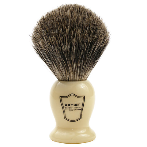 Parker - Safety Razor - Faux Ivory Handle w/ Pure Badger Brush - IHPB