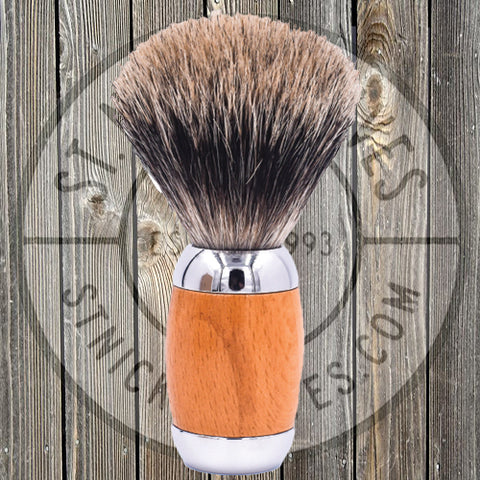 Parker - Shave Brush - Beechwood & Chrome Handle - Pure Badger Bristle - TSBPB