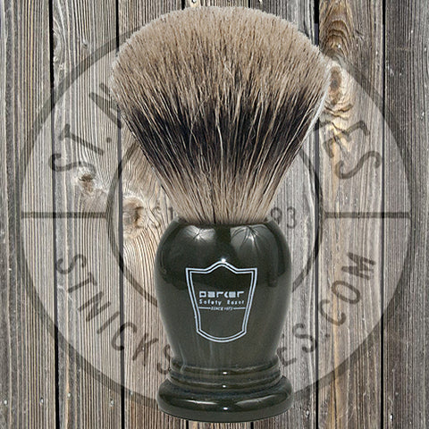 Parker - Shave Brush - Dark Green - Oversized Handle - Pure Badger Bristle - LGPB