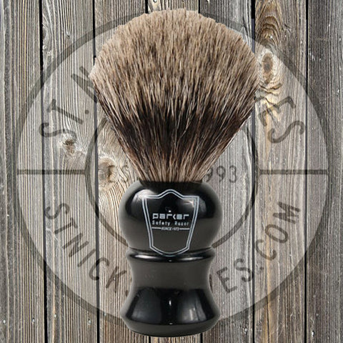 Parker - Shave Brush - Ebony Handle - Pure Badger Bristle - EHPB