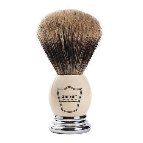Parker - Shave Brush - White Handle - Pure Badger - WHPB