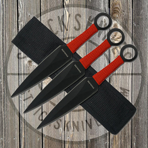 Throwing Knives - 3pc - 6.5 in - Black w/ Red Cord - RC-086-3R