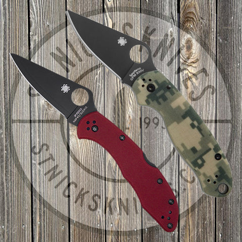Spyderco - Exclusive - Combo Pack - Para 3 CAMOBK/Delica - Plain Edge - Red G10 - SPYCOMBOPK2